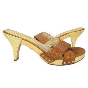 Michael Kors logo wood slide heeled sandles